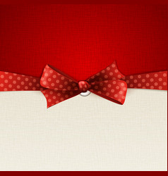Holiday background with red polka dots bow vector