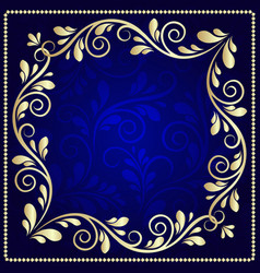 luxurious gold pattern frame on a dark blue vector image vector image