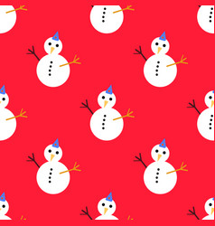seamless pattern with christmas snowman on red vector image vector image