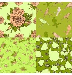 Set of vintage seamless patterns vector image vector image