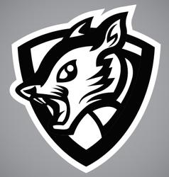 squirrel black shield logo vector image vector image