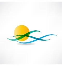 sun sea abstractly icon vector image