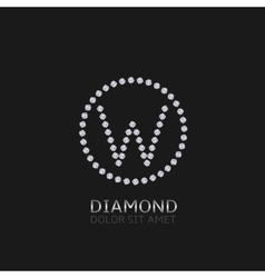 W letter with diamonds vector image