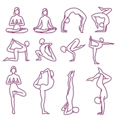 Yoga poses silhouettes pilates fitness vector image