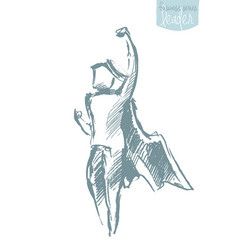 Boy waving cloak freedom happiness concept vector