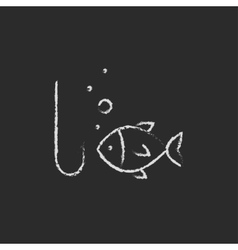 Fish with hook icon drawn in chalk vector image vector image