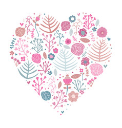 heart shape floral pink vector image vector image