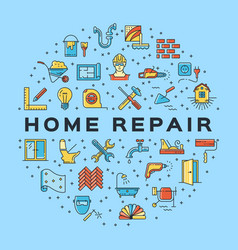 home repair circle infographics construction icon vector image