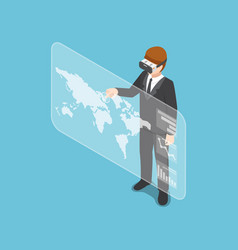 isometric businessman wearing virtual reality vector image vector image