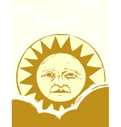 Sun Face and Clouds vector image vector image