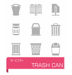 Trashcan icon set vector