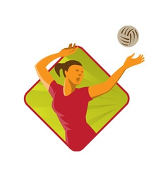 Volleyball Player Spike Ball Retro vector image