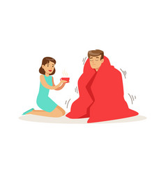 woman helping a frozen man wrapped in red a vector image