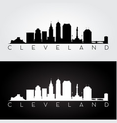 cleveland usa skyline and landmarks silhouette vector image vector image