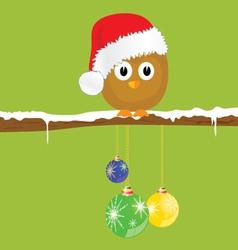 funny animal with christmas balls on the snow vector image vector image