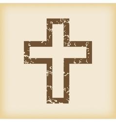 Grungy christian cross icon vector image