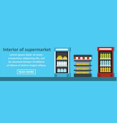 interior of supermarket banner horizontal concept vector image