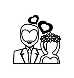 Pictogram bride and groom wedding heart design vector