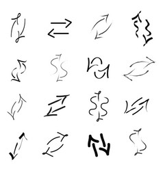 set of black arrows in different shapes vector image vector image
