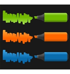 set of highlighter pens vector image vector image