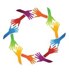 Team hand shake logo vector