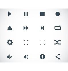 black media player icons set vector image