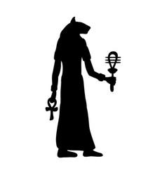 god bastet cat egyptian silhouette ancient egypt vector image vector image