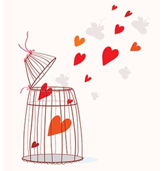 Love card with cage and heart vector