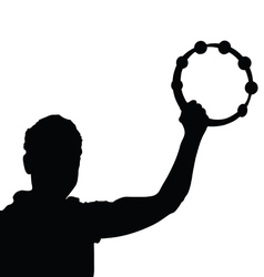 man with tambourine silhouette vector image