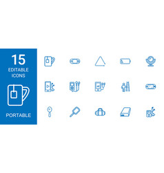 15 portable icons vector image