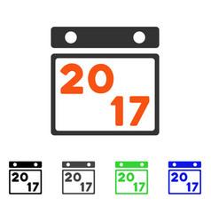 2017 calendar page flat icon vector