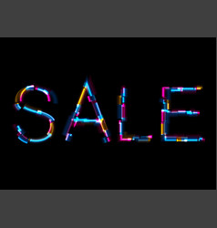 Abstract glowing neon sale lettering with glitch vector