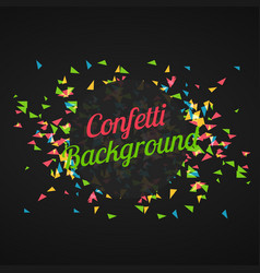 Abstract triangle confetti in dark background vector