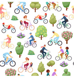 active lifestyle people riding on bicycle seamless vector image