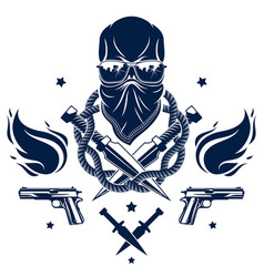 Anarchy and chaos aggressive emblem or logo with vector