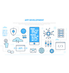 App development concept with icon set template vector