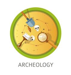 Archeology subject studies themed concept logo vector