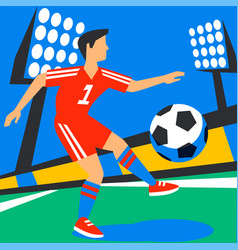 attacking forward football player with football vector image