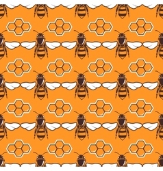 bees honey seamless pattern in brown and vector image