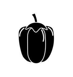 Black contour health pepper vegetable icon vector
