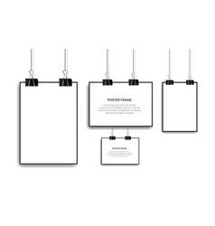 Blank white poster hanging with binder clips vector