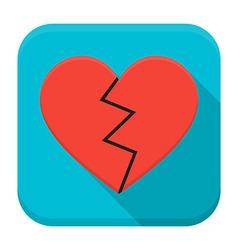 Broken heart app icon with long shadow vector image