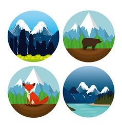 Canadian landscape scene icon vector