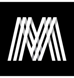 Capital letter M Made of three white stripes vector image