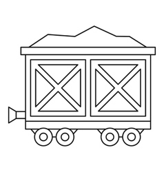 Cart on wheels with gold icon outline style vector