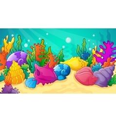 Cartoon See Shells And Corals vector image
