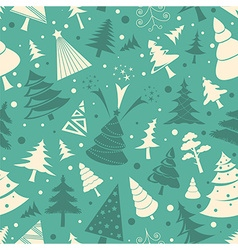 Christmas tree seamless pattern Flat design vector image