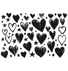 collection black ink hearts for valentines day vector image