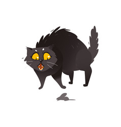 Cute fluffy fat black cat scared of little mouse vector