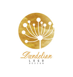 Dandelion logo design template gentle golden vector